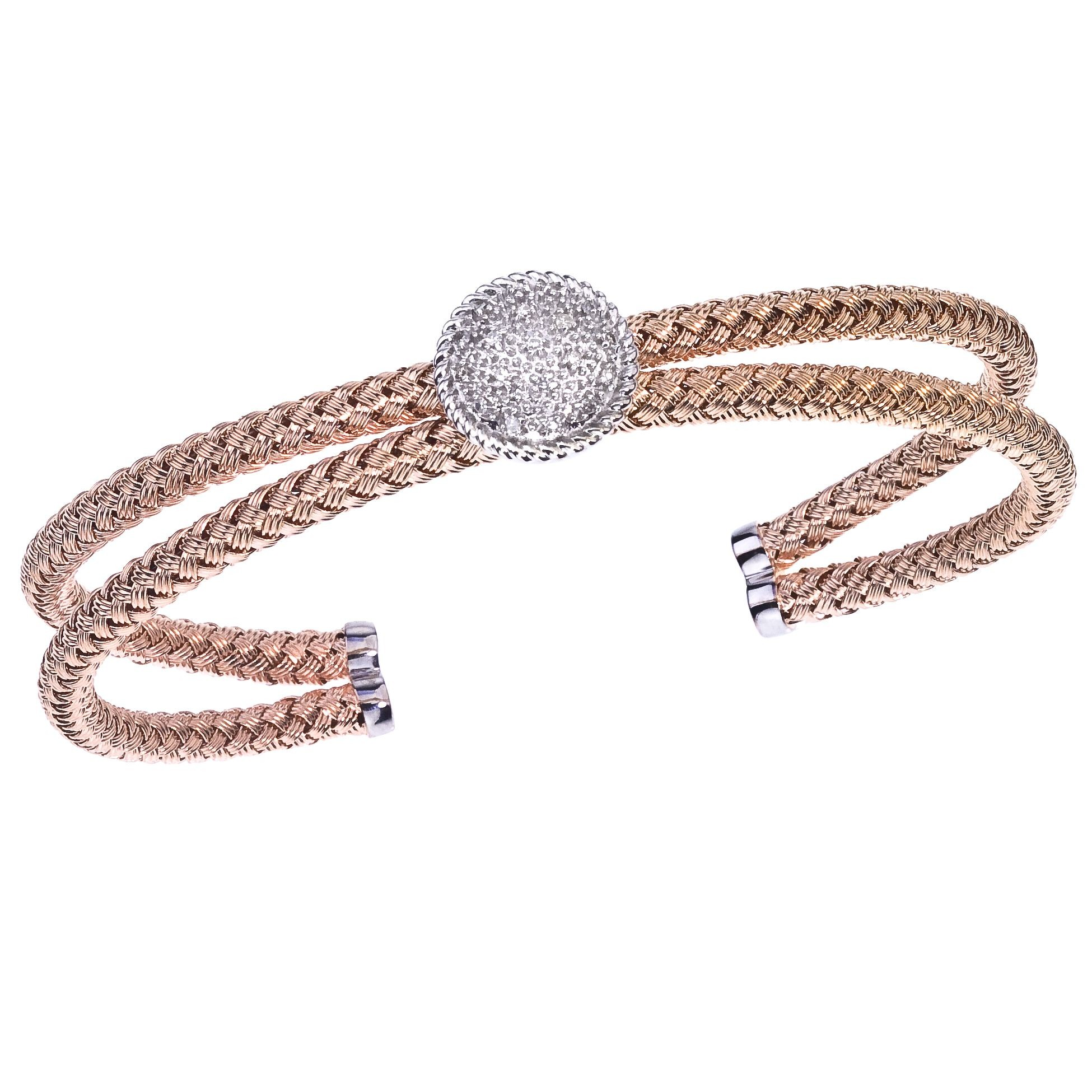 Pink Plated and Round Diamond Cuff Bracelet