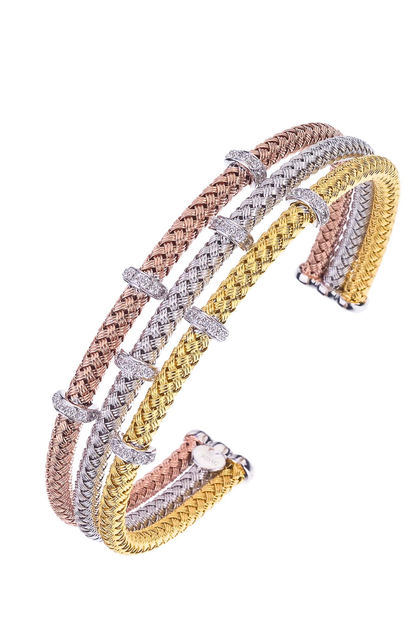 Tri color handmade silver plated diamond bracelet